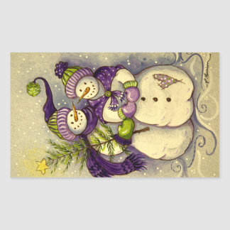 4882 navidad de los muñecos de nieve rectangular pegatina