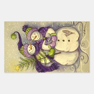 4882 Snowmen Christmas Rectangular Sticker