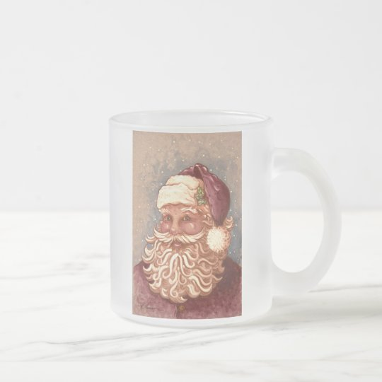 4884 Santa Claus Christmas Frosted Glass Coffee Mug