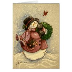 4886 Snowman Wreath Cardinal Christmas Card at Zazzle