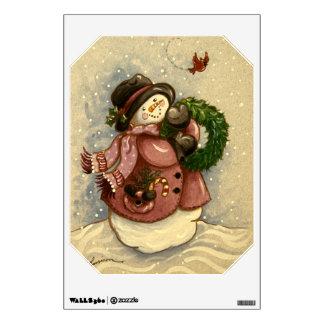 4886 Snowman Wreath Cardinal Christmas Wall Decal