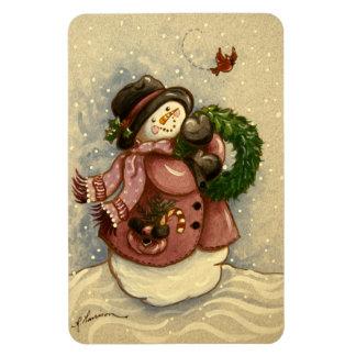 4886 Snowman Wreath Cardinal Magnet