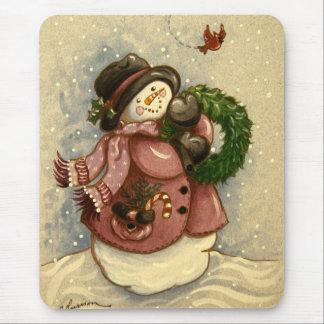4886 Snowman Wreath Cardinal Mouse Pad
