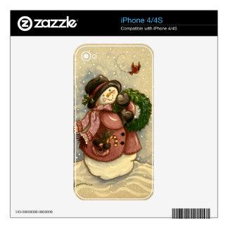 4886 Snowman Wreath Cardinal Skin For iPhone 4S