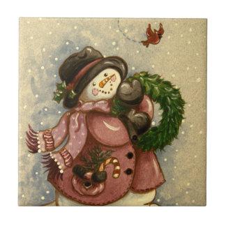 4886 Snowman Wreath Cardinal Small Square Tile