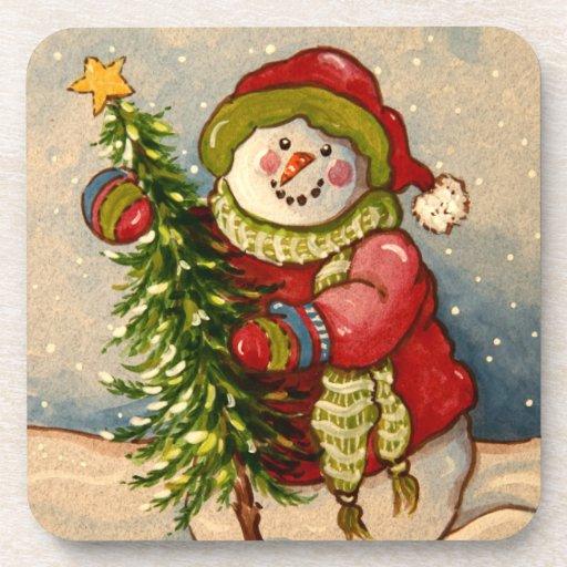 4889 navidad del muñeco de nieve posavasos
