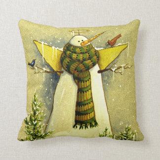 4894 ángel de la nieve y navidad de los pájaros cojines