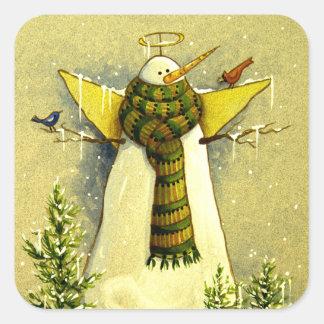 4894 ángel de la nieve y navidad de los pájaros pegatina cuadradas personalizada
