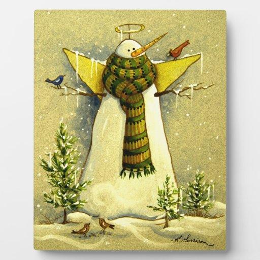 4894 ángel de la nieve y navidad de los pájaros placas de madera
