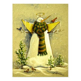 4894 ángel de la nieve y navidad de los pájaros postal