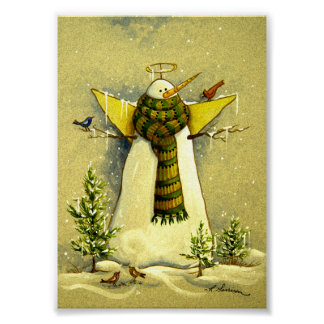 4894 Snow Angel & Birds Christmas Art Print