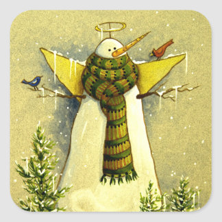 4894 Snow Angel & Birds Christmas Square Sticker