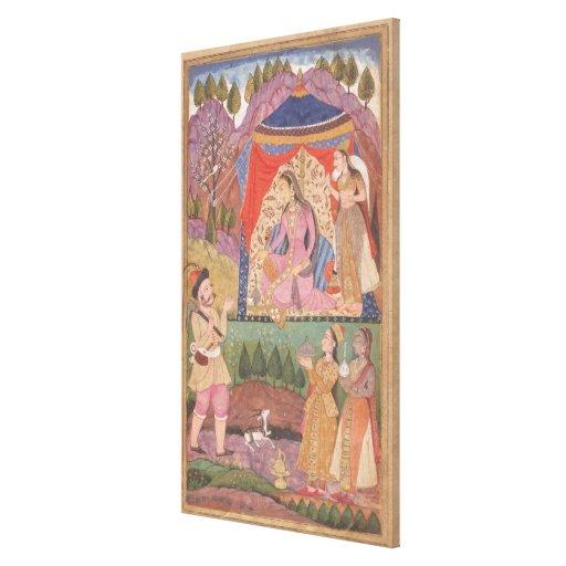 48.6/2 folio 138 Farhad recounts his adventures to Canvas Print