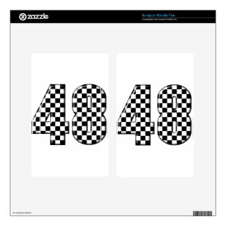 48 checkered number kindle fire skins