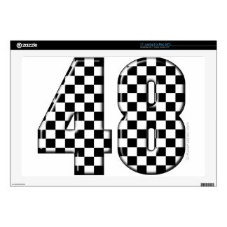 48 checkered number laptop skins