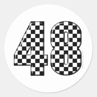 48 checkered number sticker