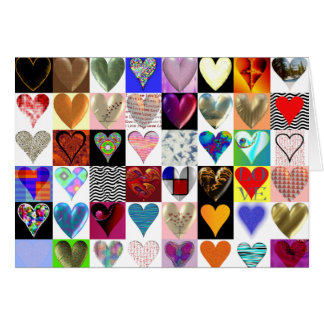 48 corazones en una tarjeta de felicitación
