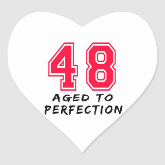48 envejeció al diseño del cumpleaños de la perfec colcomanias corazon