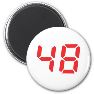 48 fourty-eight red alarm clock digital number 2 inch round magnet