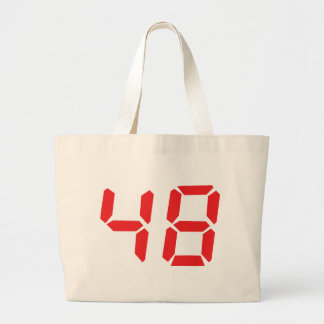 48 fourty-eight red alarm clock digital number tote bag