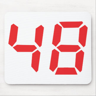 48 fourty-eight red alarm clock digital number mouse pad