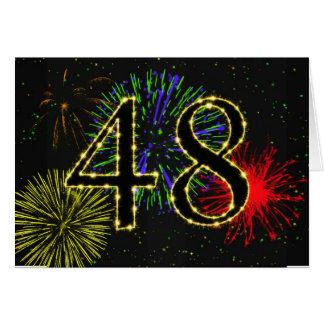 48.o Tarjeta de cumpleaños con los fuegos