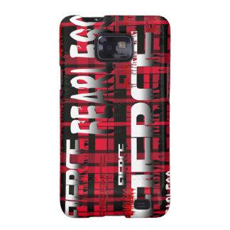 48 Red y feroz audaz de la tela escocesa negra Samsung Galaxy SII Fundas