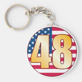 48 USA Gold Basic Round Button Keychain