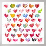48 Valentine Hearts Square Poster