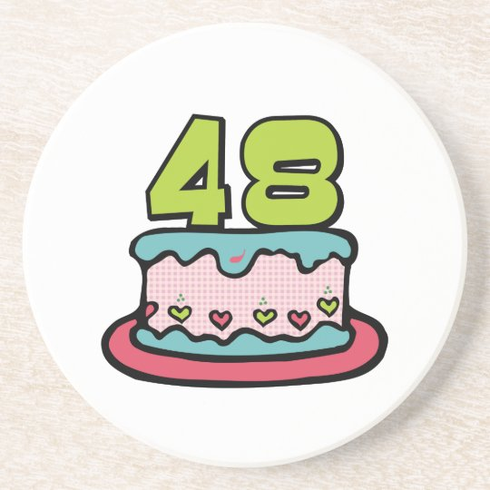 48 Year old Birthday Cake Coaster