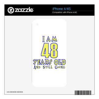48 YEARS OLD BIRTHDAY DESIGNS DECALS FOR iPhone 4