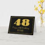 "[ Thumbnail: 48th Birthday: Art Deco Inspired Look ""48"" & Name Card ]"