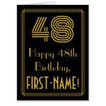 "[ Thumbnail: 48th Birthday: Art Deco Inspired Look ""48"" + Name Card ]"