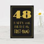 "[ Thumbnail: 48th Birthday ~ Art Deco Inspired Look ""48"" & Name Card ]"
