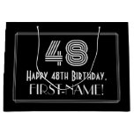 "[ Thumbnail: 48th Birthday — Art Deco Inspired Look ""48"" & Name Gift Bag ]"