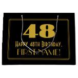 "[ Thumbnail: 48th Birthday — Art Deco Inspired Look ""48"" & Name Gift Bag ]"