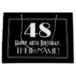 "[ Thumbnail: 48th Birthday: Art Deco Inspired Style ""48"", Name Gift Bag ]"