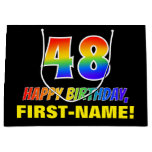 [ Thumbnail: 48th Birthday: Bold, Fun, Simple, Rainbow 48 Gift Bag ]