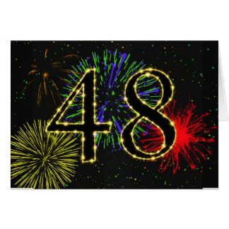 48th Birthday card with fireworks