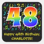 [ Thumbnail: 48th Birthday: Colorful Music Symbols, Rainbow 48 Sticker ]