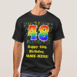 [ Thumbnail: 48th Birthday: Colorful Music Symbols, Rainbow 48 T-Shirt ]