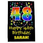 [ Thumbnail: 48th Birthday: Colorful Stars Pattern & Rainbow 48 Gift Bag ]