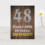 [ Thumbnail: 48th Birthday: Country Western Inspired Look, Name Card ]