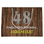 [ Thumbnail: 48th Birthday: Country Western Inspired Look, Name Gift Bag ]