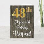 [ Thumbnail: 48th Birthday: Elegant Faux Gold Look #, Faux Wood Card ]