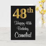 [ Thumbnail: 48th Birthday ~ Elegant Luxurious Faux Gold Look # Card ]