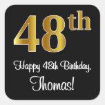 [ Thumbnail: 48th Birthday – Elegant Luxurious Faux Gold Look # Sticker ]