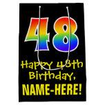 "[ Thumbnail: 48th Birthday: Fun, Bold, Colorful, Rainbow ""48"" Gift Bag ]"