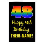 [ Thumbnail: 48th Birthday: Fun, Colorful, Happy, Rainbow # 48 Card ]