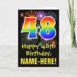 [ Thumbnail: 48th Birthday: Fun Fireworks Pattern + Rainbow 48 Card ]